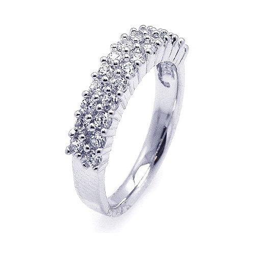 925 Rhodium Plated Pave Set Clear CZ Ring