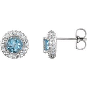 14K White Aquamarine & 1/3 CTW Diamond Earrings