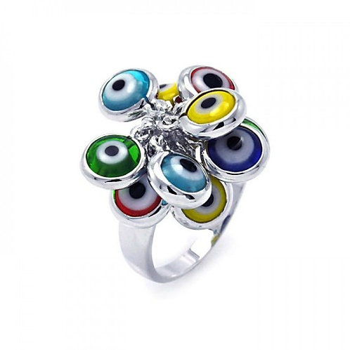 925 Rhodium Plated Multi Colored Hanging Evil Eye Ring