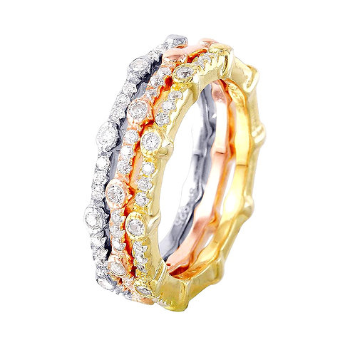 White Cubic Zirconia Sterling Silver Multi- Plated Tree Stackable Ring Band