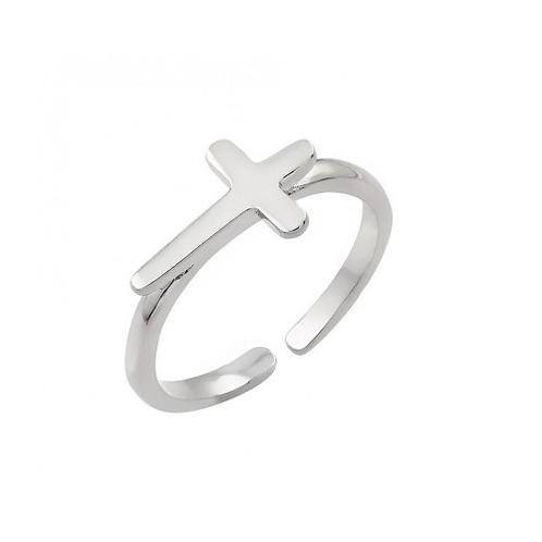 925 Rhodium Plated Mini Cross Toe Ring