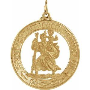 14K Yellow 29 mm St. Christopher Medal