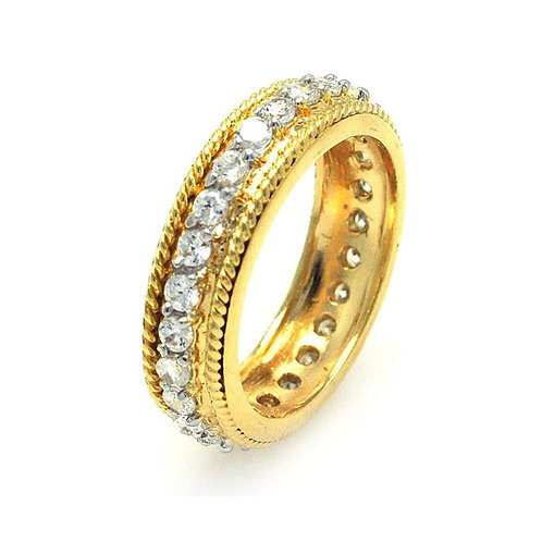 Rope Border Cubic Zirconia Sterling Silver Gold Plated Eternity Ring Band