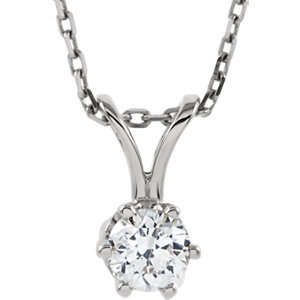 "14K White 1/4 CT Diamond Solitaire 18"" Necklace"