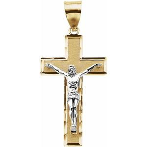 14K Yellow & White 32.25x18.75 mm Crucifix Pendant
