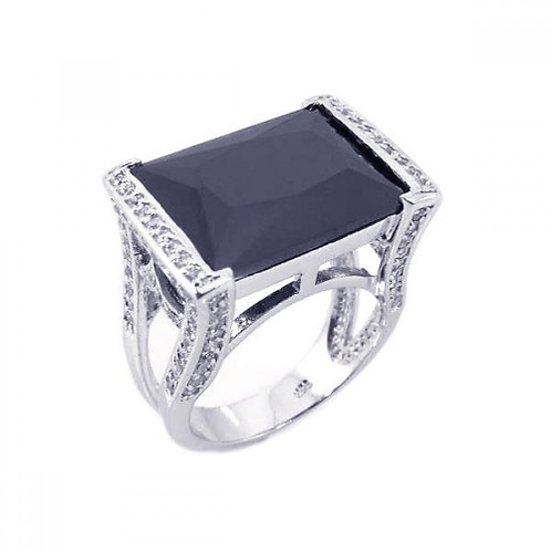 925 Rhodium Plated Black Onyx Clear CZ Square Ring