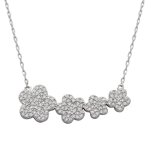 Graduated Flower Cubic Zirconia Sterling Silver Necklace