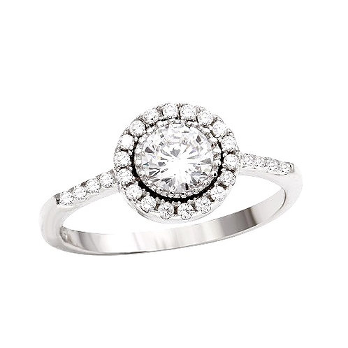 925 Rhodium Plated Clear Cluster CZ Bridal Ring
