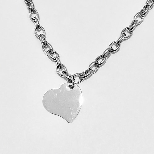 Flat Heart Drop Necklace in 14k White Gold
