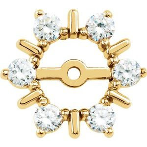 14K White 3/4 CTW Diamond Earring Jackets with 6 mm ID