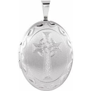 Sterling Silver Oval Celtic-Inspired Cross Locket