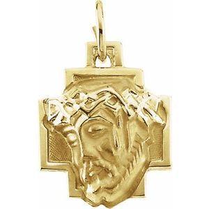 14K Yellow 18x16 mm Face of Jesus Pendant