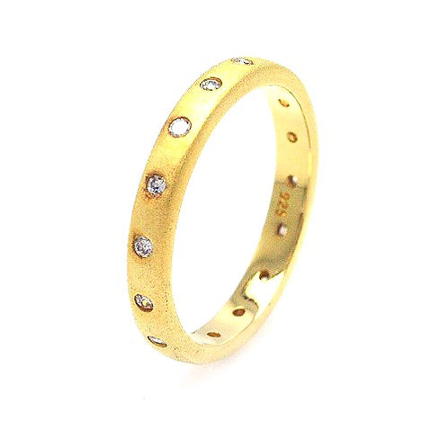 925 Gold Plated CZ Stackable Eternity Ring