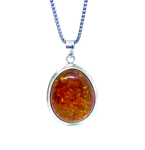 Natural Goldish Baltic Amber Sterling Silver Pendant