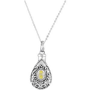 """Sterling Silver 6x4 mm Pear August Ash Holder Birthstone 18"""" Necklace"""