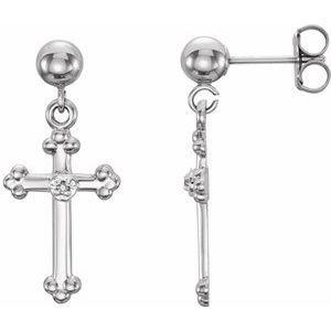 14K White .005 CTW Diamond Cross Dangle Earring