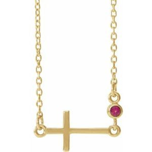 """14K Yellow Chatham® Created Ruby Sideways Accented Cross 16-18"""" Necklace"""