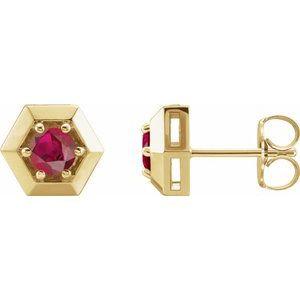 14K Yellow Chatham® Lab-Created Ruby Geometric Earrings