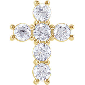 14K Yellow 1/2 CTW Diamond Cross Pendant