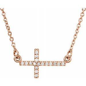 "14K Rose .07 CTW Diamond Sideways Cross 16-18"" Necklace"