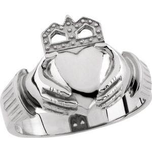 14K White 15x11 mm Claddagh Ring