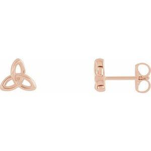14K Rose Celtic-Inspired Trinity Earrings