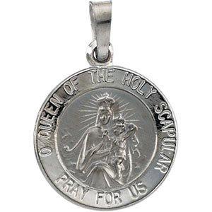 14K White 15 mm Round Scapular Medal