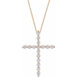 "14K Rose 1/2 CTW Diamond Cross 18"" Necklace"