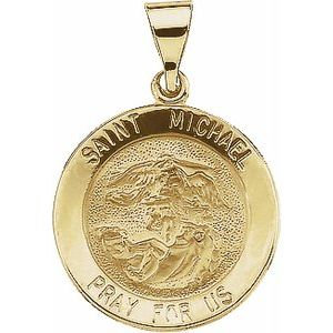 14K Yellow 18x18 mm Round Hollow St. Michael Medal