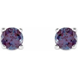 14K White 4 mm Round Chatham® Created Alexandrite Earrings