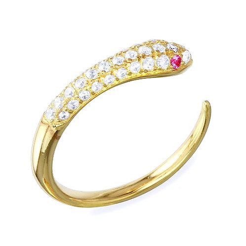925 Gold Plated Open Snake Ring with CZ