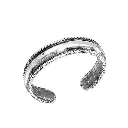 925 Rope Border Design Adjustable Toe Ring