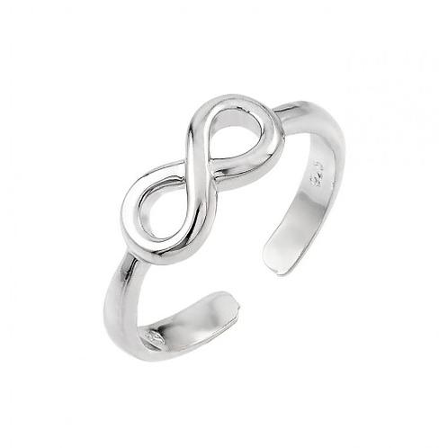 925 Rhodium Plated Infinity Toe Ring