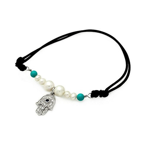 925 Rhodium Plated Pearl Turquoise Beads Hamsa Clear CZ Black Cord Bracelet