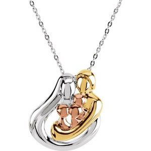 """18K Yellow Gold/Rose-Plated Sterling Silver 3 Child Family 18"""" Necklace"""