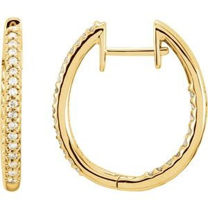 14K Yellow 3/4 CTW Diamond Inside-Outside Hinged 26.7 mm Hoop Earrings