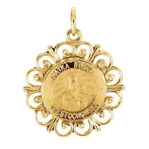 14K Yellow 18 mm Round Matka Boska Medal