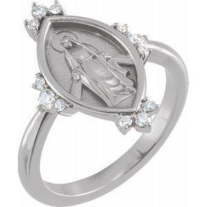 14K White 1/5 CTW Diamond Miraculous Medal Ring