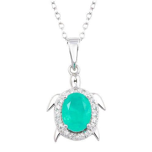 925 Turtle Pendant Necklace with Light Blue CZ