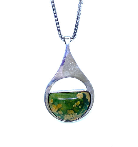 Genuine Green Turquoise Sterling Silver Pendant