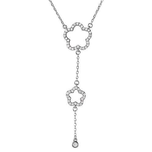 Open Cubic Zirconia Flower Sterling Silver Drop Necklace