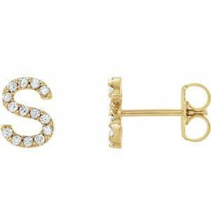 14K Yellow .06 CTW Diamond Single Initial S Earring