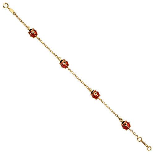 14KY Lady Bug Chain Bracelet