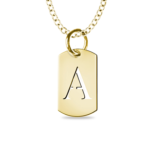 SMALL INITIAL CUTOUT DOG TAG