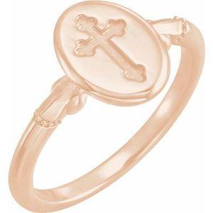 14K Rose 11.5x8.8 mm Oval Cross Signet Ring