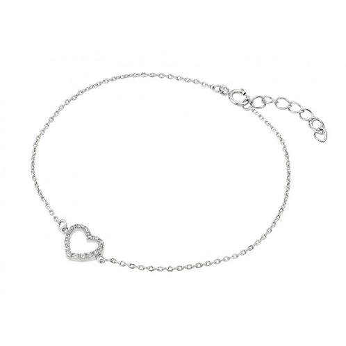 925 Rhodium Small Open Heart Clear CZ Outline Bracelet