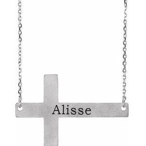 """Sterling Silver Sideways Cross 16-18"""" Necklace"""