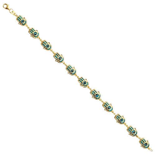 14KY Hamsa Blue Evil Eye Bracelet