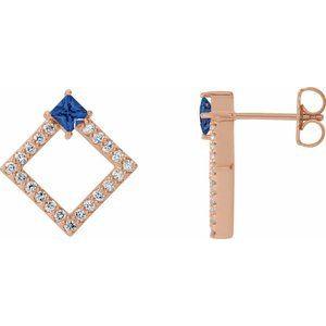 14K Rose Tanzanite & 1/3 CTW Diamond Earrings
