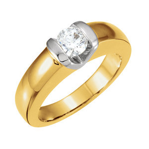 **18K White 4.1 mm Round Engagement Ring Mounting